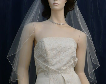 wedding veils bridal veil  Fingertip length Cascading Angel Cut  finished with a delicate pencil edge