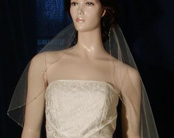Short Beaded Edge Bridal Veil