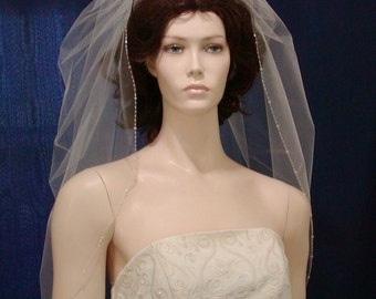 Trumpet Style wedding Veil  with a beaded edge of Swarovski Crystals and sparkling Bugle Beads