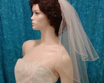 Elbow /Waist length 2 Tier wedding Bridal Veil  Simply Elegant Pencil Edge