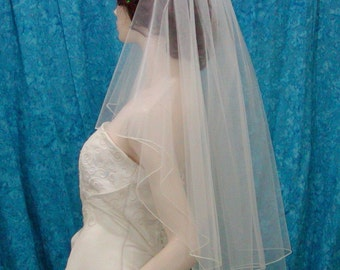 2 Tier Fingertip Wedding Veil Center Gathered / Butterfly Accented with Scattered Swarovski Crystals