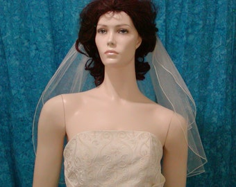 Shimmer Tulle  Elbow length Bridal Veil  Simple and Elegant  2 Tier