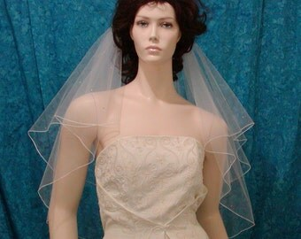 Elbow length Bridal Veil two tier sprinkled with Rhinestones