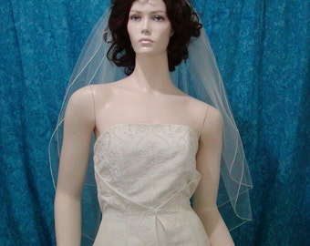 Traditional Wedding Bridal Veil   2 Tier Fingertip length with a delicate Pencil Edge