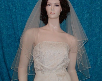 Two  Tier Fingertip Bridal Wedding Veil Center Gathered finished with a delicate pencil edge.
