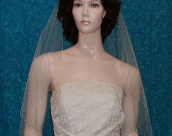 wedding veils, bridal veil Elbow length Crystal Beaded Edge  Swarovski Crystals Shining Rocaille Beads