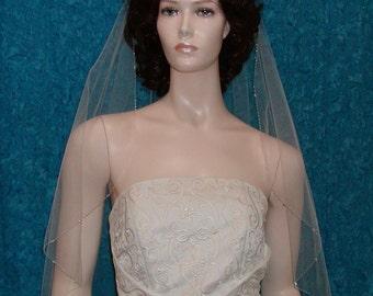 wedding veils Bridal veil Cascade Cut Crystal Beaded Edge  Available in various  lengths and colors