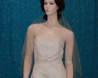 Champagne Elbow length Beaded Edge Bridal Veil