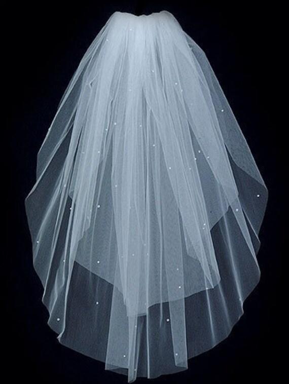 2 Tier Elbow length Bridal Veil Sprinkled with Swarovski Rhinestones featuring a Plain Cut Edge