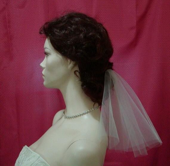 Informal Bridal Veil IVORY Short Circle Cut Perfect For