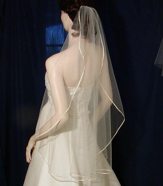 Satin trimmed  Fingertip length Cascading cut /Waterfall Style  bridal veil