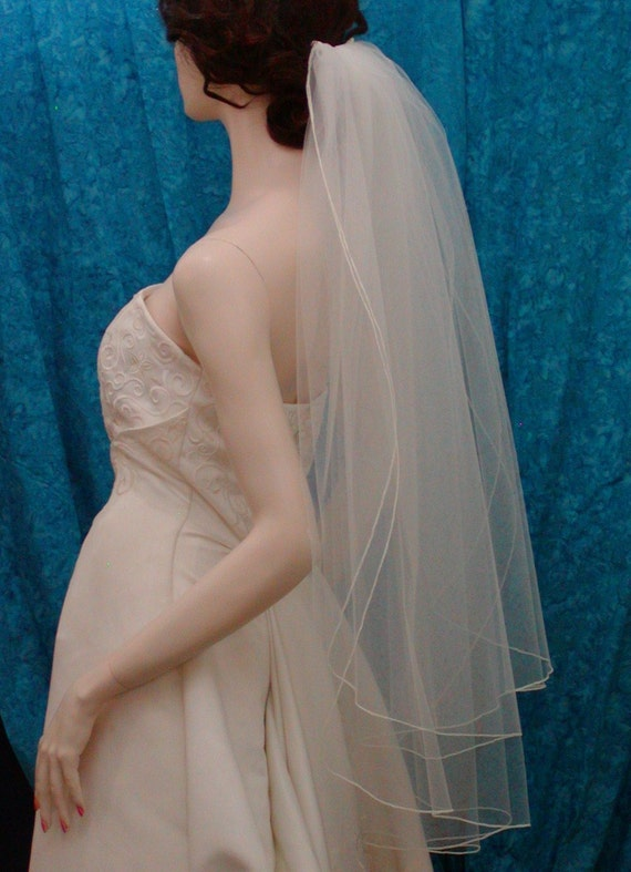 Traditional Bridal Veil   2 Tier Fingertip length with a delicate Pencil Edge