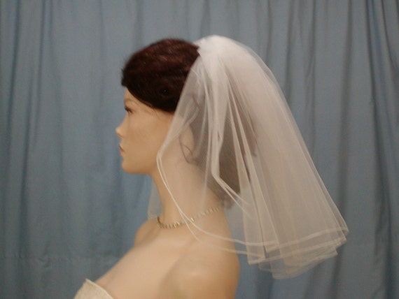 Wedding Bridal Veil 2 Tier Madonna Flyaway veil Shoulder Length Full Gathered style 18 inches long