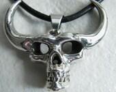 I Am Not Danzig Silver Horned Devil Skull Pendant