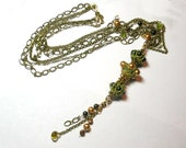 Moss Green and Buttery  Gold Princess Necklace