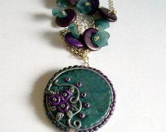 Plums and fairy flowers ceramic necklace