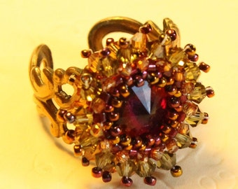 woven crystal ring - Ring of Fire