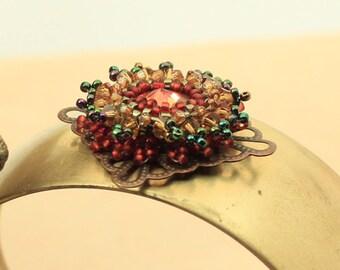 Ring of Fire Woven Rivoli Cuff bracelet