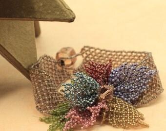 Spring pastels: flower corsage cuff bracelet