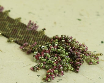 woven cuff bracelet - pink and green floweret  trail