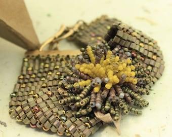 Bronze Pouf woven cuff bracelet