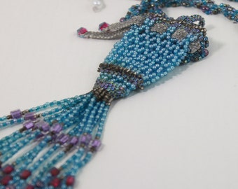 Woven aqua and red violet amulet necklace