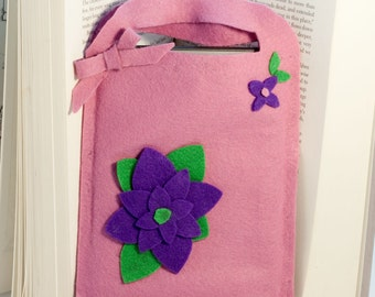 E-reader  cover, tote/carrier, felt and flower