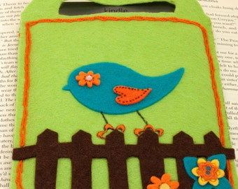 e-reader cover, carrier, Birdy on the fence