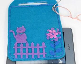 e reader  cover, carrier/tote, lavender cat