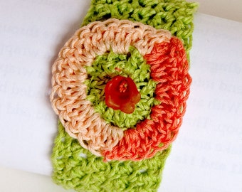 Melon Slices, Crocheted Cuff Bracelet