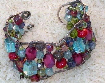 Wired colorful cuff bracelet