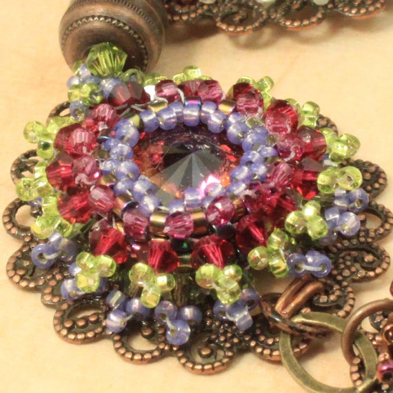 Fire Flowers crystal and copper woven  bracelet