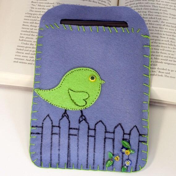 e-reader cover, carrier, embroidered felt