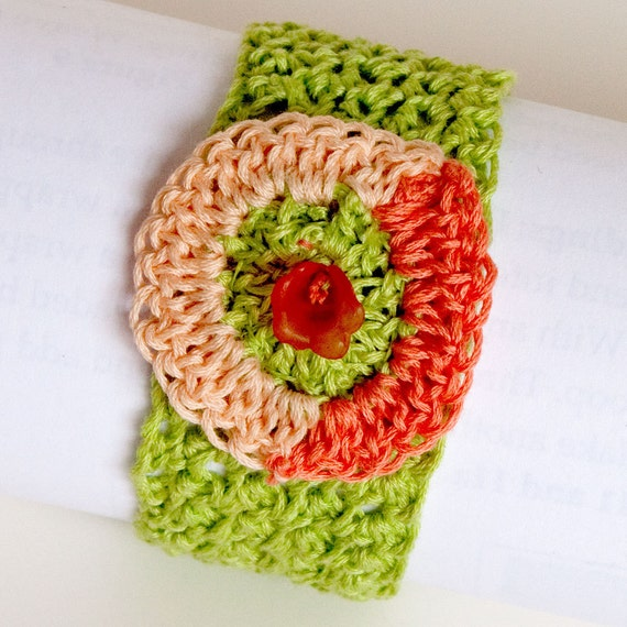 Melon Slices, Crocheted Cuff Bracelet