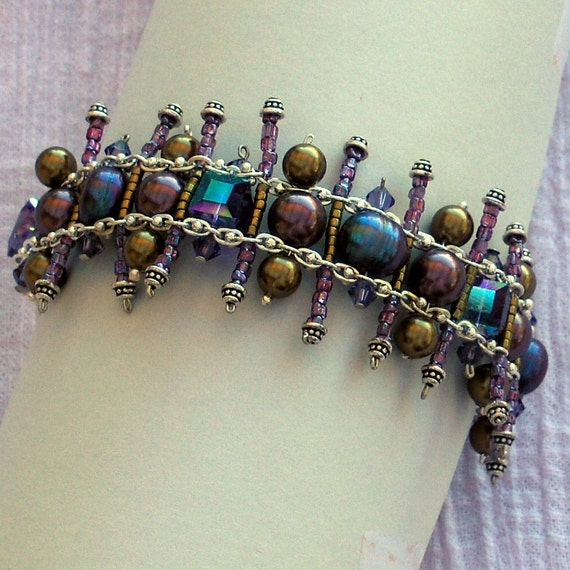 Ladder Bracelet with Swarovski Pearls and Cubes