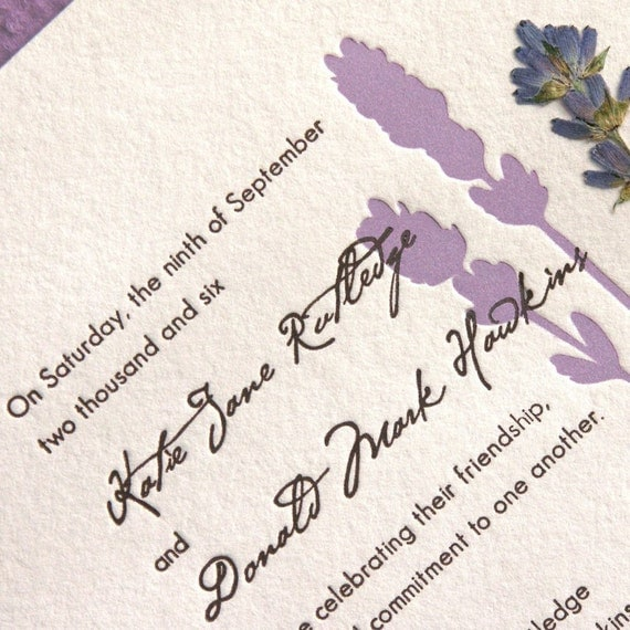 english lavender pressed flower letterpress by edeninvitations. Black Bedroom Furniture Sets. Home Design Ideas