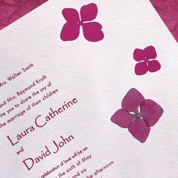Hydrangea Pressed Flower Letterpress Wedding Invitation Fuchsia On