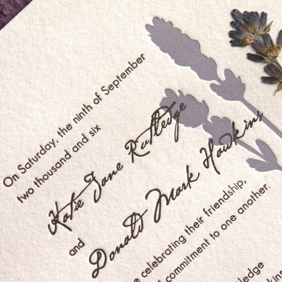 Lavender Pressed Flower Letterpress Wedding Invitation Lavender
