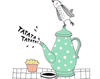 Print - Proud teapot - green