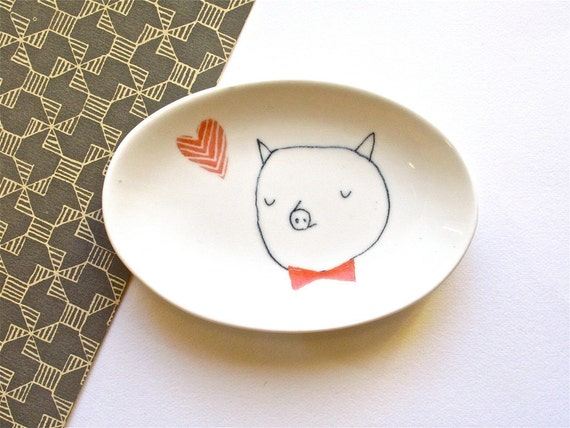 Tea bag holder - Pig with bow tie