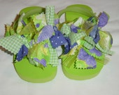 Mopsie Flopsies - Knotted Fabric Embellished (lime\/purple\/yellow) Flip Flops - Childs 9\/10