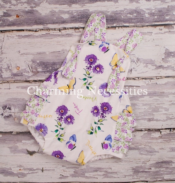 Baby Girl Sunsuit Bubble Romper with Ruffles - Butterflies and Sunshine  Purple Lavender Green Yellow, Vintage Garden Nature Flowers