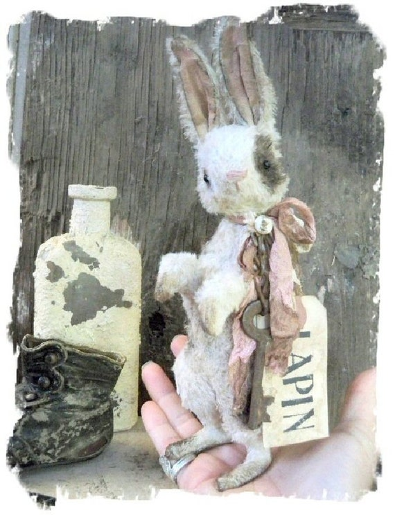 Pre-ORDER ....Little Lapin .... Vintage Style Postcard Rabbit -  by Whendi's Bears