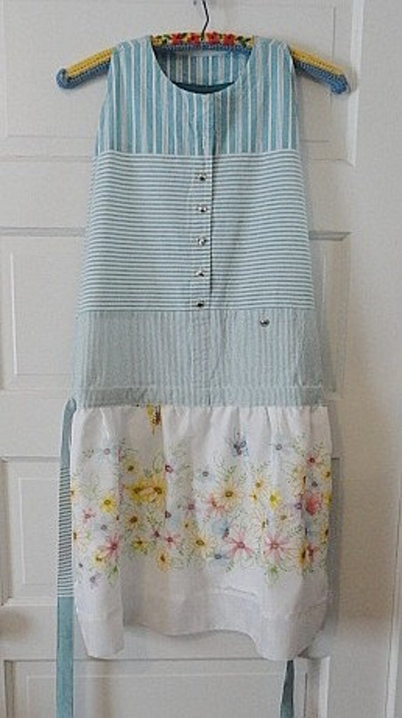 Stripes, Butterflies and Flowers / Upcycled Apron