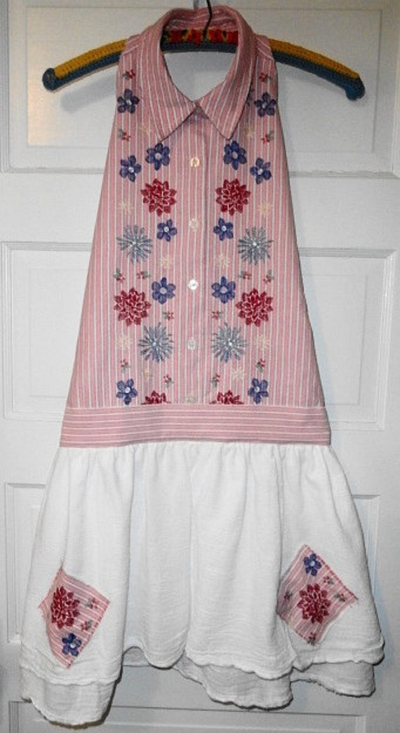 Shabby Chic Upcycled Apron / Stripes and Machine Embroidered Flowers