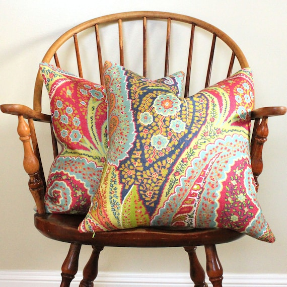 "Schumacher Cambay Paisley - Pair of Pillow Covers - 18"" Size - Final Clearance Sale"