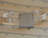 Sterling Silver Plated SQUARE deep welled bracelet blank