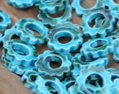 5 Pottery Gear Bead in Turquoise and Silver