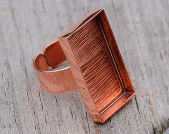 copper deep well ring with bezel