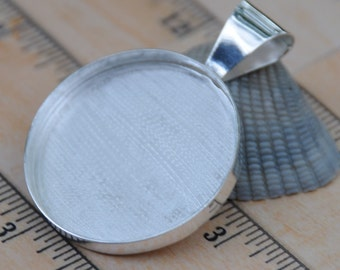 38 mm large circle sterling plated pendant